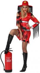 Zombie-Feuerwehrfrau-Kostüm für Damen