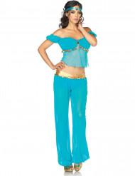 Blaues orientalisches Tänzerinnen-Kostüm für Damen