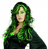 Schwarz-grüne Perücke für Damen