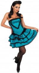 Blaues Burleske-Tänzerinnen-Kostüm für Damen
