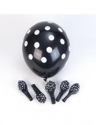 6 schwarze Ballons mit weißen Punkten