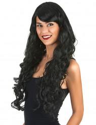 Schwarze Glamour-Langhaar-Perücke mit Locken für Damen