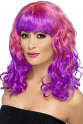 Rosa-violettfarbene Locken-Perücke für Damen
