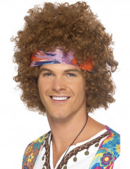 Braune Afro-Hippie-Perücke für Herren