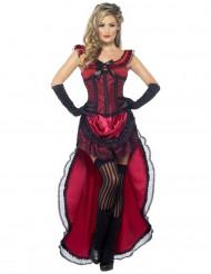 Sexy Saloon-Tänzerin-Kostüm in Rot für Damen