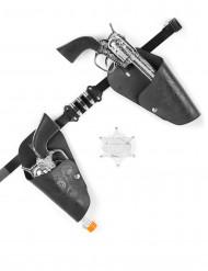 Revolver-Set für Cowboys Spielzeug schwarz-silber