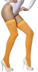 Neonorange Overknee-Strümpfe für Damen