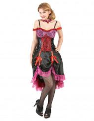 Schwarz-rotes Cabaret-Kostüm für Damen