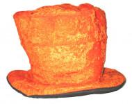 Orangefarbener Velours-Hut