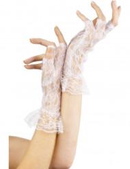 Weiße Spitzen-Handschuhe für Damen