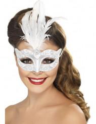 Venezianische Maske in Silber mit weißen Federn für Erwachsene