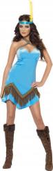 Heißes Indianer-Kostüm in Blau für Damen