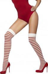 Rot-weiß gestreifte Kniestrümpfe mit Pailletten für Damen