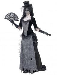 Dunkle Gräfin Damenkostüm Halloween grau-schwarz