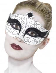 Weiße Augenmaske mit schwarz-silbernen Pailletten für Erwachsene