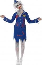 Halloween Zombie-Stewardess-Kostüm für Damen