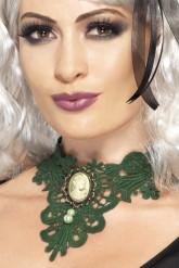 Eng anliegende Halskette in Grün