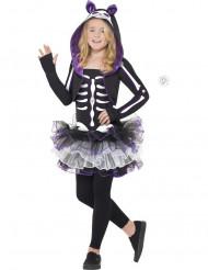 Lila Halloween Skelett-Katzen-Kostüm für Mädchen