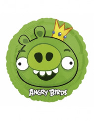 Angry Birds™ Leonard Aluminium Luftballon rund 45 cm hellgrün