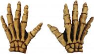Halloween gelbe Skelett-Handschuhe für Erwachsene