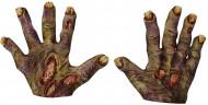 Halloween Zombie-Handschuhe mit gelben Nägeln für Erwachsene