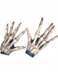 Halloween kurze Skelettknochen-Handschuhe für Erwachsene