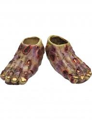 Halloween hautfarbene Skelett-Füße für Erwachsene