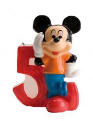 Micky Maus™ Kerze Zahl 5 bunt 6,5cm