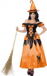 Schwarz-orangefarbenes Halloween Hexen-Kostüm für Damen