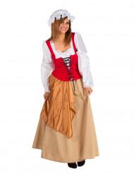 Mittelalterliches Bäuerin-Kostüm für Damen