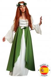 Mittelalter-Damenkostüm weiss-grün
