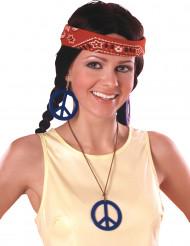 Blaue Hippie-Ohrringe und Anhänger