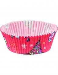 20 Cupcakesformen Weihnachten pink mit Tannenbäumen