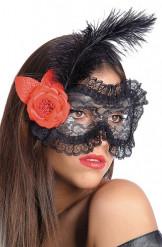 Schwarze Augenmaske mit Spitze, Blume und Feder für Erwachsene