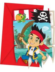 6 Einladungskarten mit Umschlag Jake und die Nimmerland Piraten™