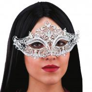 Silberne Metallic-Augenmaske mit weißen Perlen für Erwachsene