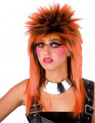 Orangefarbene Punk-Perücke für Erwachsene