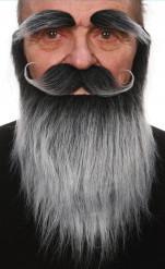Set mit Bart, Schnauzbart und Augenbrauen in Grau für Erwachsene