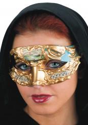 Blaue venezianische Augenmaske mit Musiknoten für Erwachsene