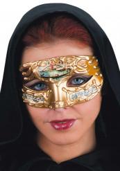 Gelbe venezianische Augenmaske mit Musiknoten für Erwachsene