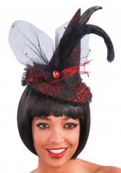 Mini Hexenhut mit roter Spitze für Erwachsene