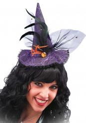 Mini Hexenhut mit lila Spitze für Erwachsene