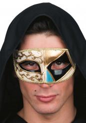 Schwarze venezianische Augenmaske mit geometrischen Formen für Erwachsene