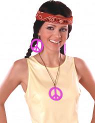 Rosa Hippie-Ohrringe und Anhänger