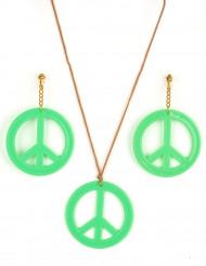 Grüne Hippie-Ohrringe und Anhänger