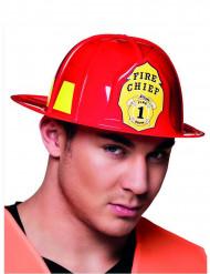 Feuerwehrhelm für Erwachsene Kostümzubehör rot