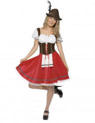 Bayrisches Dirndl-Kostüm für Damen rot braun weiß