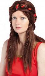 Braune Mittelalter-Perücke für Damen
