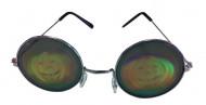 Runde Metall-Brille mit Kürbis-Hologramm