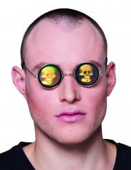Runde Metallbrille mit Totenkopf-Hologramm